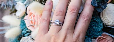 How do you stack an engagement ring and a wedding band?