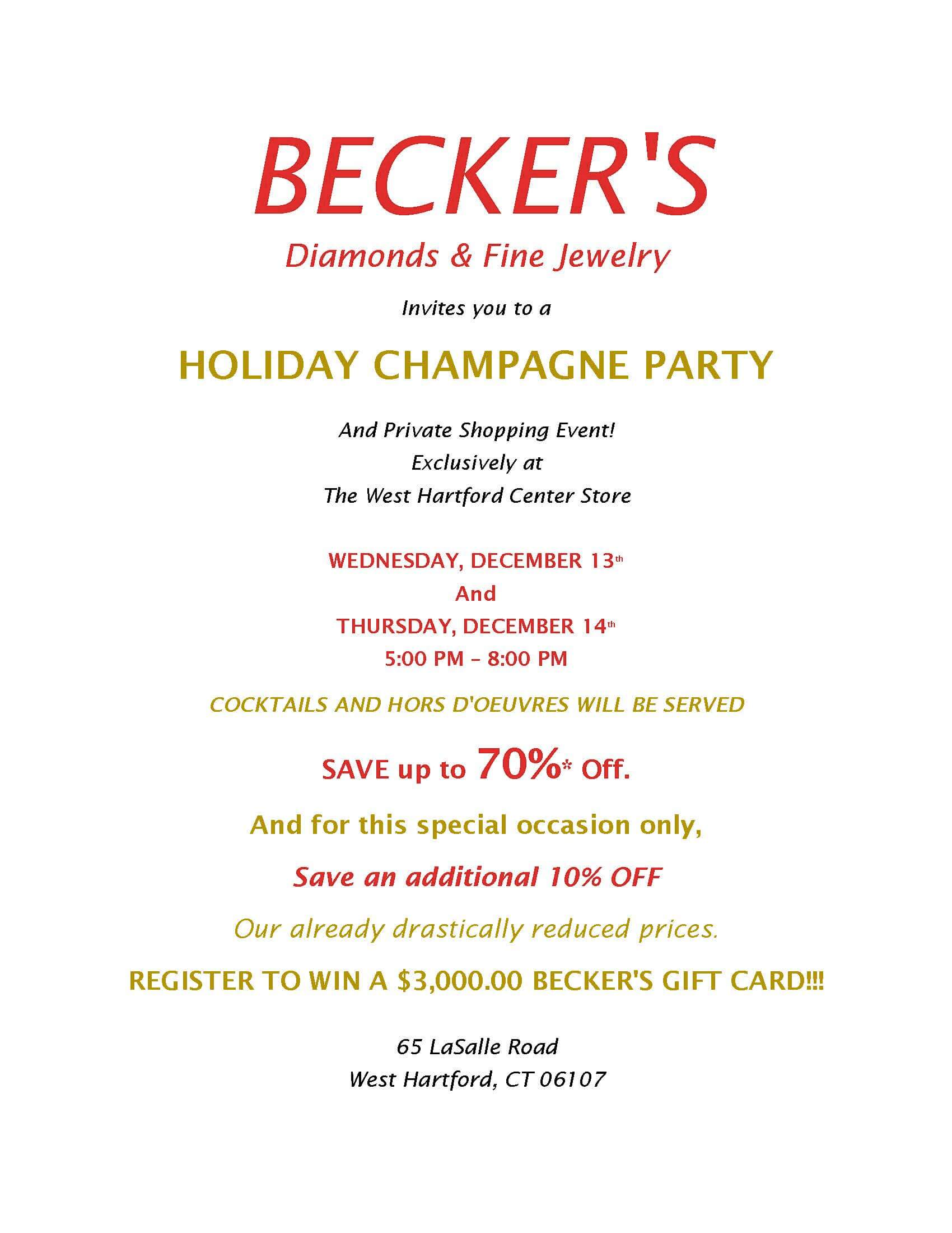 west hartford holiday champagne party