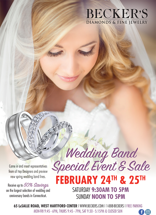 Becker's Wedding Band 2-Day Event & Sale In West Hartford Februar 24 and 25 2018