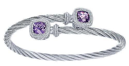 Gabriel & Co. Sterling Silver/Stainless Steel Amethyst Bracelet