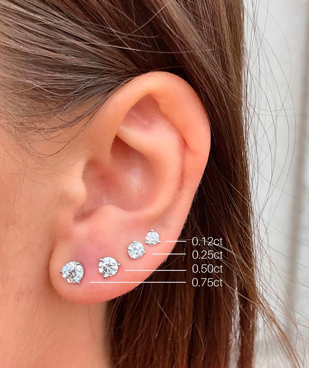 diamond stud size chart