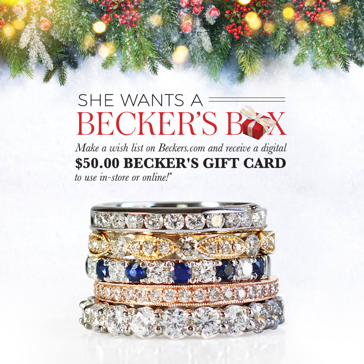 Make a wish list on Beckers.com by 12/23/2018 and receive a $50 Becker's gift card promotion