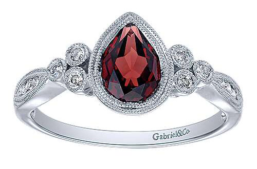 Gabriel & Co. Pear Shape Garnet Diamond Ring