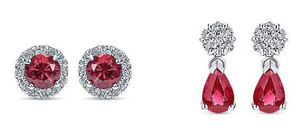 Gabriel & Co. Ruby Diamond Earrings