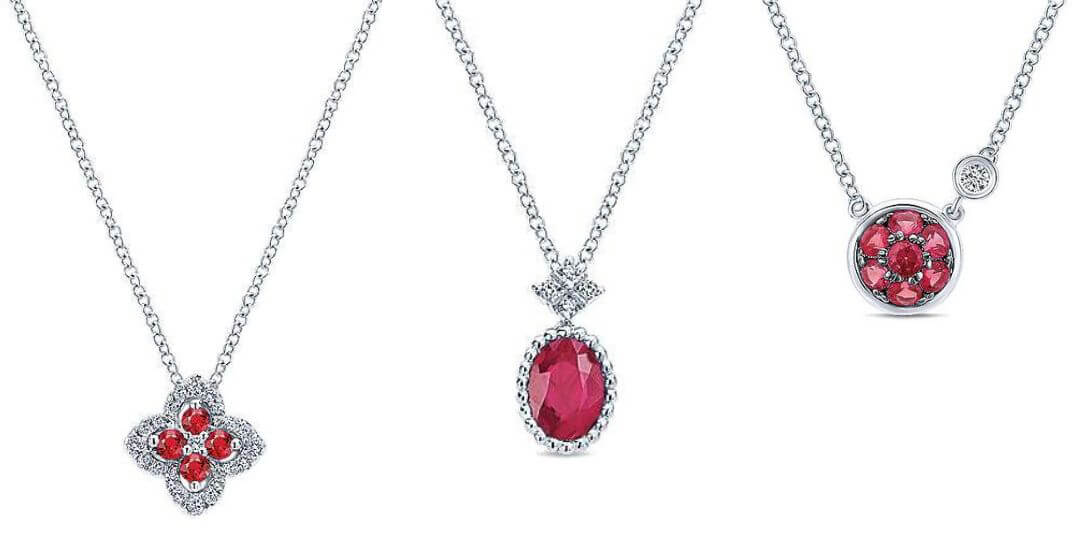 Gabriel & Co. Ruby Necklaces