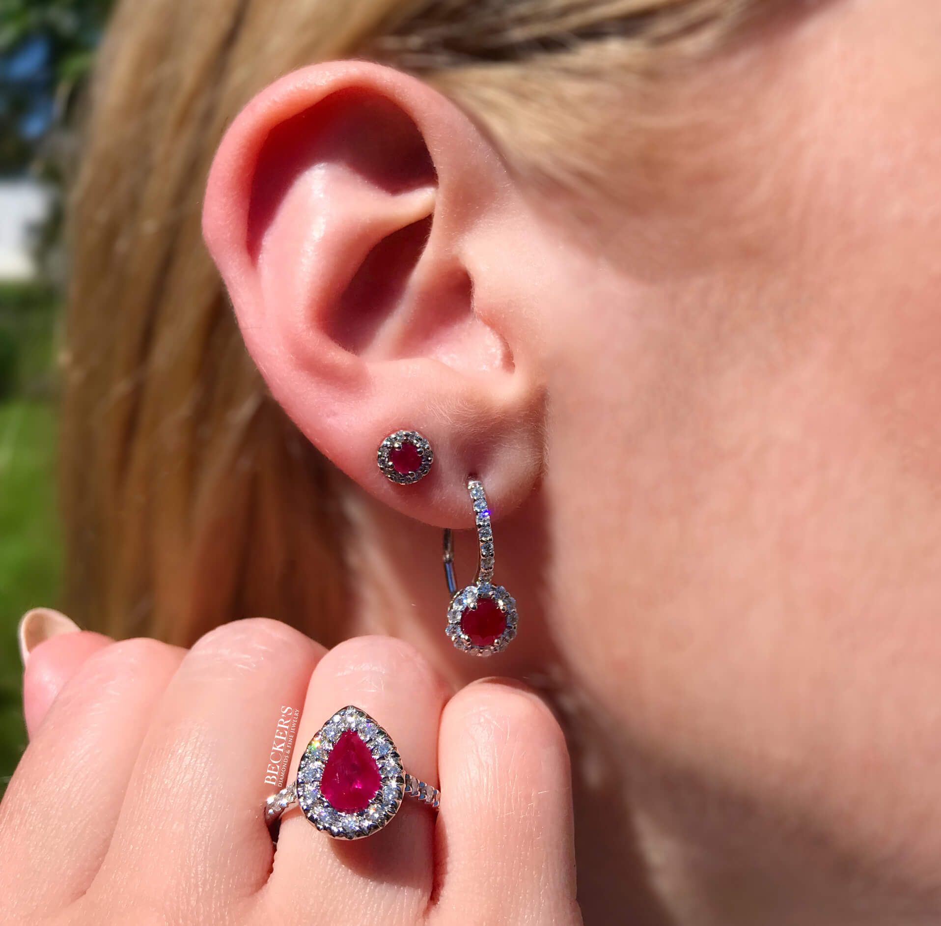 Ruby Earrings and Ring