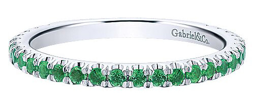Gabriel & Co. White Gold Emerald Stackable Ring
