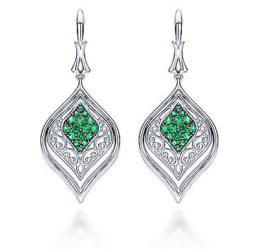 Gabriel & Co. Sterling Silver Emerald Drop Earrings
