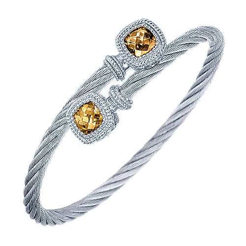 Gabriel & Co. Sterling Silver/Stainless Steel Citrine Bracelet BG2963MXJC