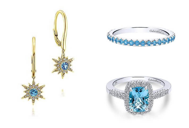 Gabriel & Co. Blue Topaz Jewelry - Earrings EG13074Y45BT, Stackable Ring LR50889W4JBT, and Fashion Ring  LR4663W45BT