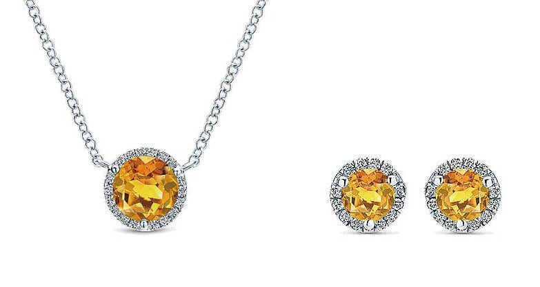 Gabriel & Co. Citrine Diamond Halo Pendant NK4616Y45CT and Citrine Diamond Halo Earrings EG12372W45CT