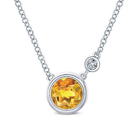 Gabriel & Co. Sterling Silver Citrine and Diamond Bezel Necklace NK5241SV5CT