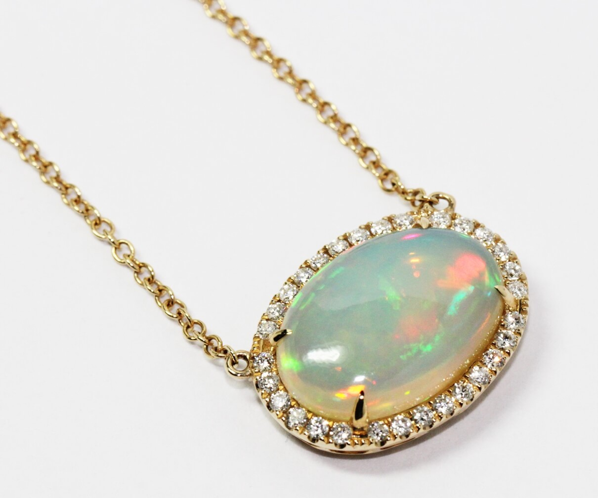 Opal diamond halo necklace