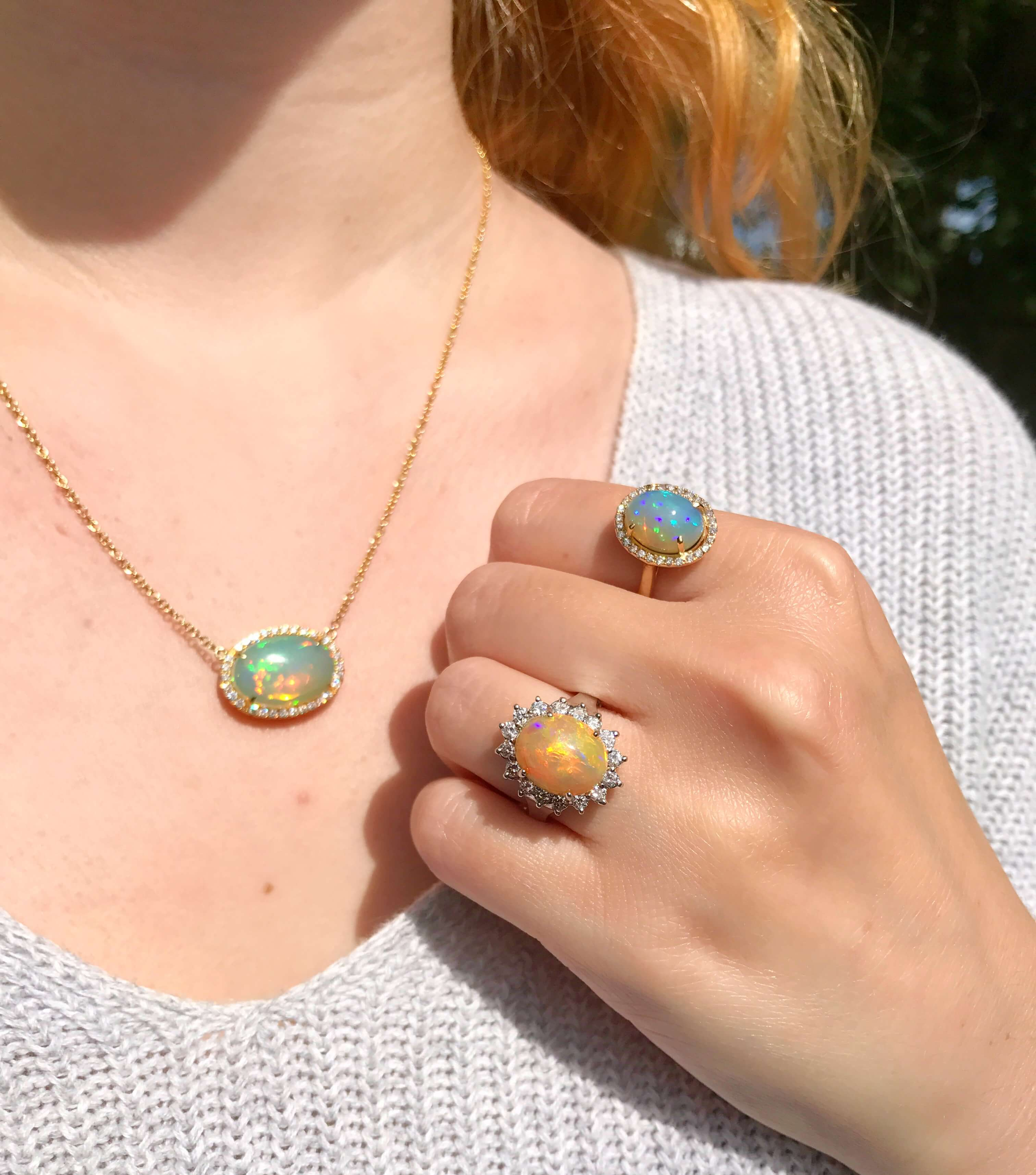 Opal rings and pendant