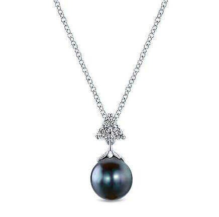 Gabriel & Co. Black Pearl and Diamond Pendant
