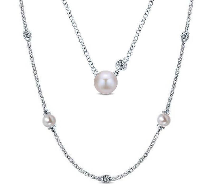Gabriel & Co. Sterling Silver Pearl Necklaces
