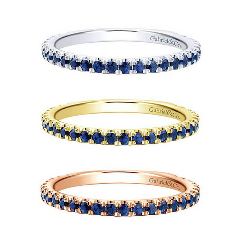Gabriel & Co. Stackable Sapphire Bands in White, Yellow, and Rose Gold