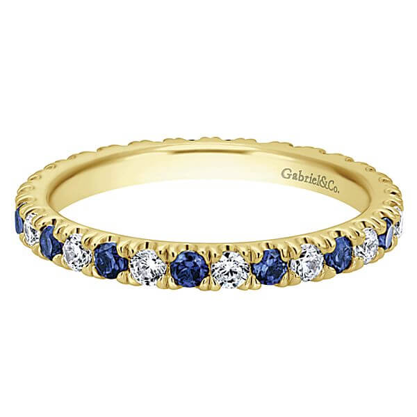 Gabriel & Co. yellow gold sapphire diamond band