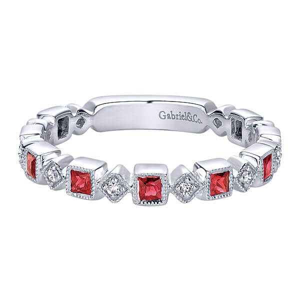 Gabriel & Co. ruby and diamond band