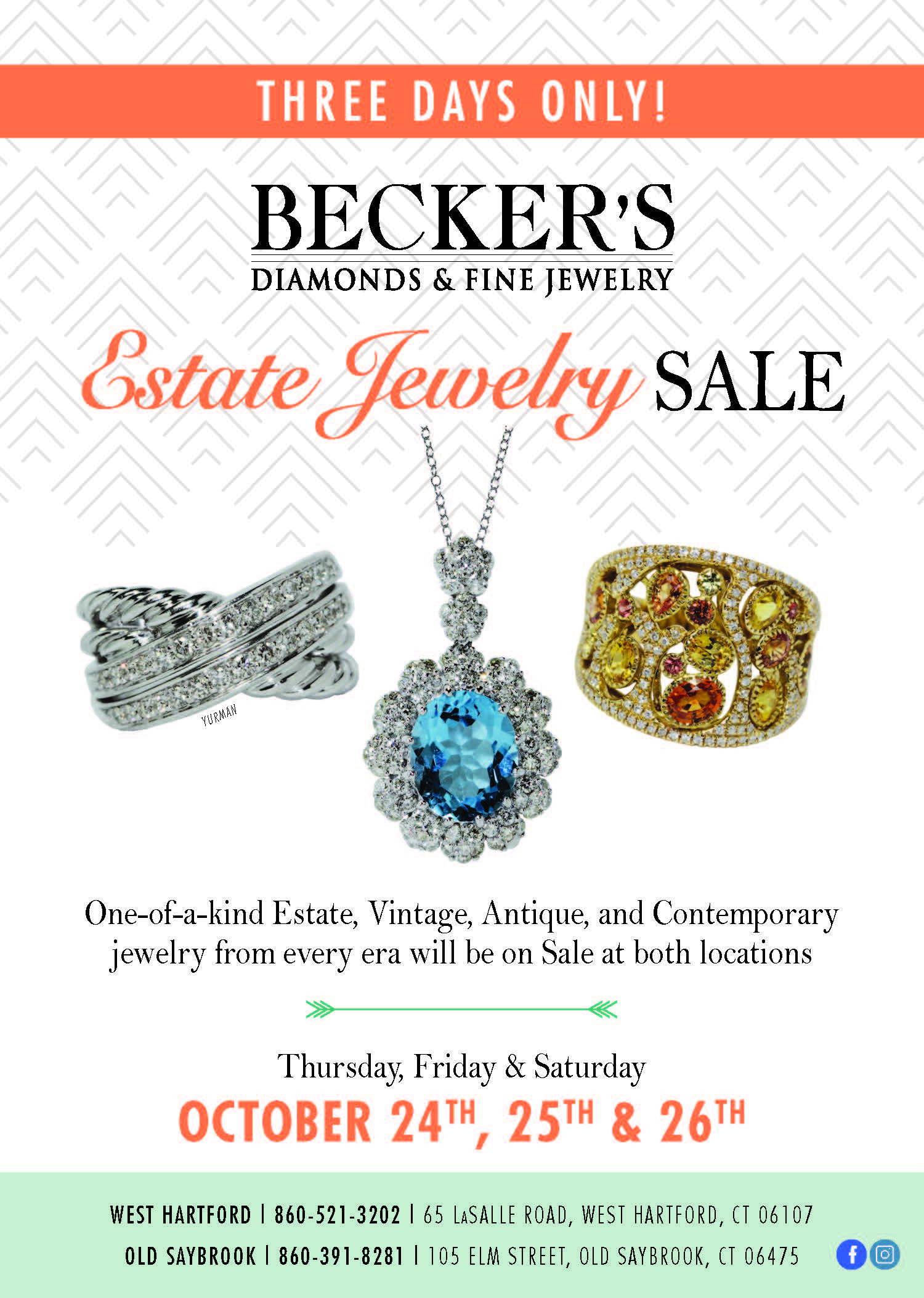 Estate jewelry sale October 24th - 26th 2019