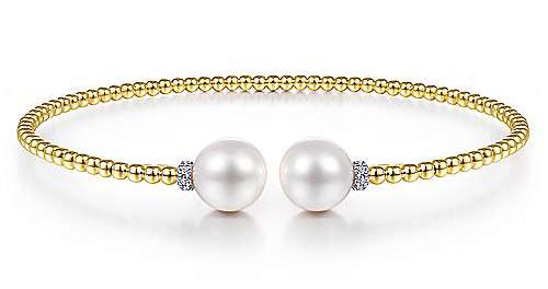 Gabriel & Co. 14k Yellow Gold Bujukan Pearl & Diamond Bangle Bracelet - BG4247-65Y45PL