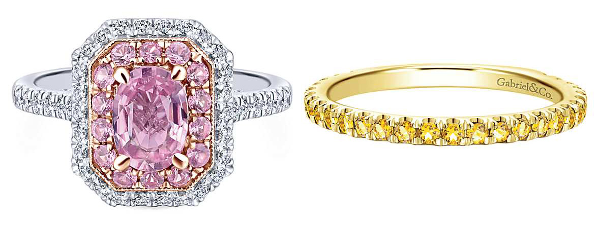Pink Sapphire Ring and Yellow Sapphire Band by Gabriel and Co.
