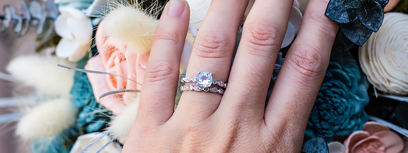 How do you stack an engagement ring and a wedding band