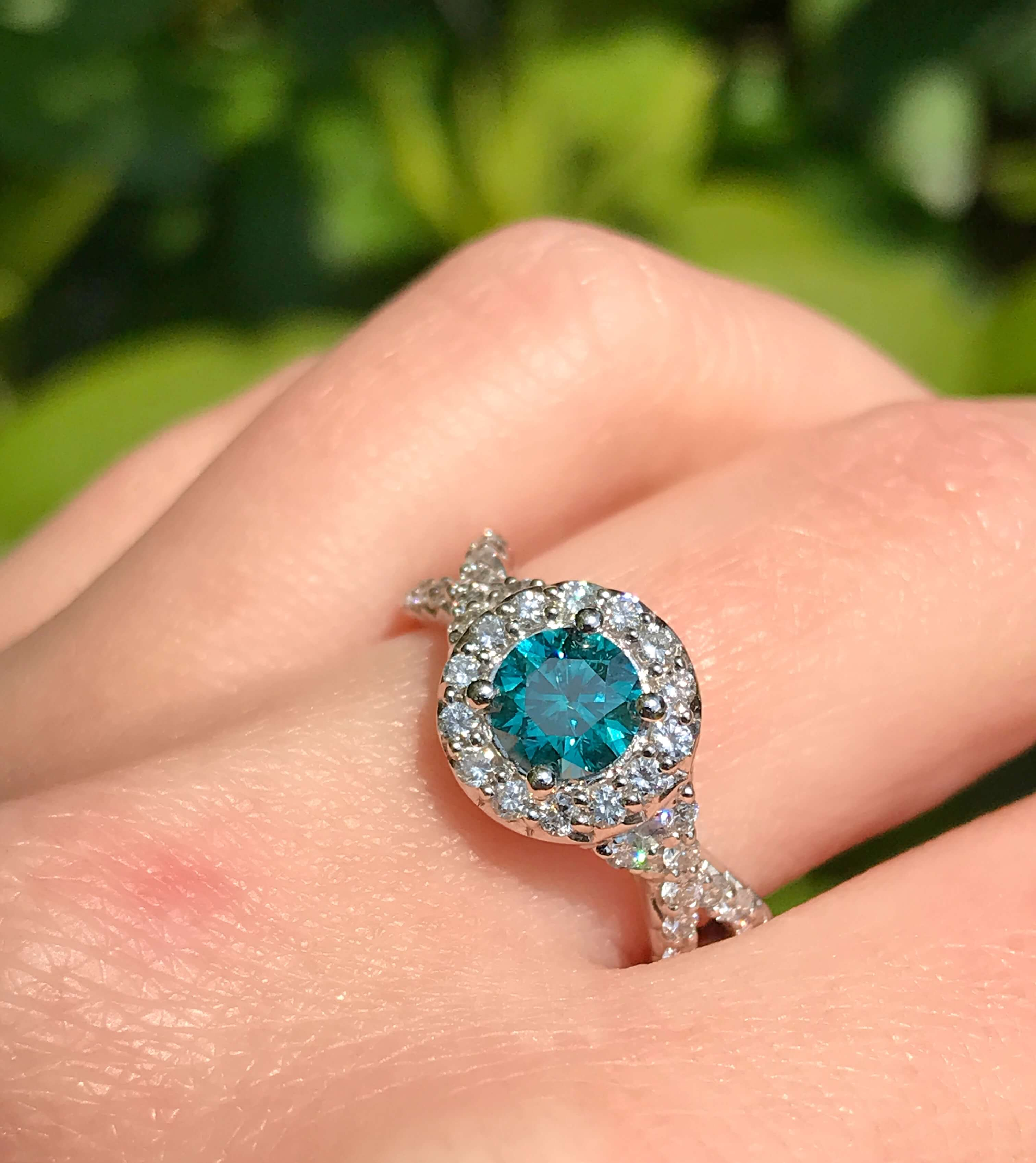 Treated Blue and white diamond ring