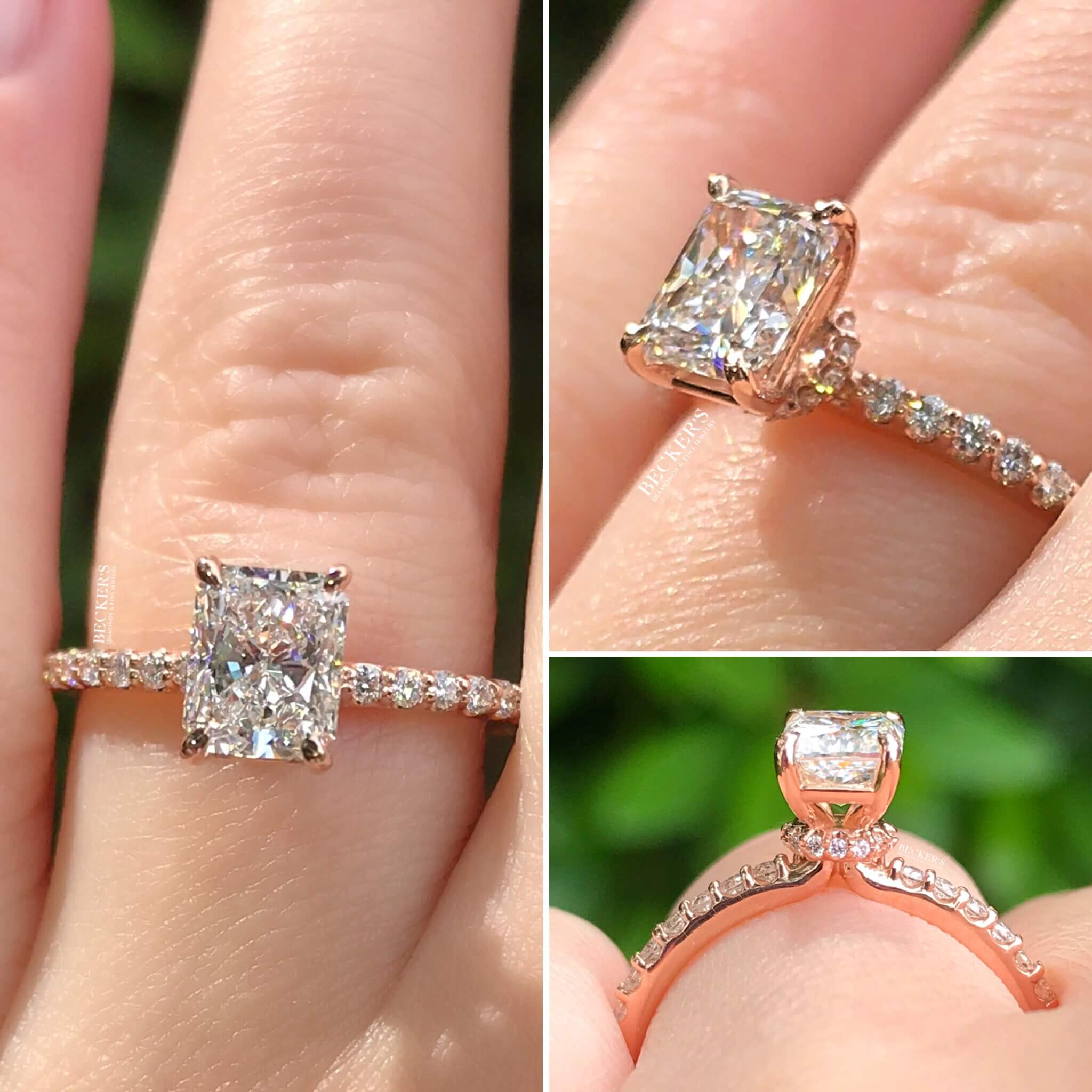 Rose Gold Radiant Cut Engagement Ring