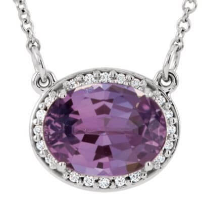 Amethyst diamond halo pendant