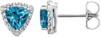 Blue topaz diamond stud earrings