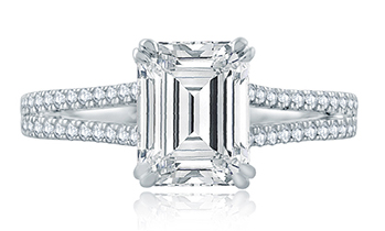 a jaffe emerald cut ring with double prongs