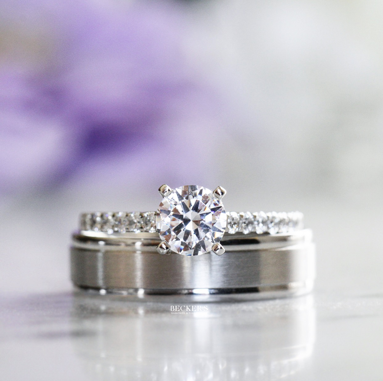 platinum wedding band and engagement ring